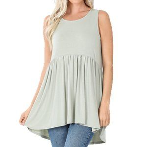 Light Sage Green Soft Shirred Sleeveless Shirt